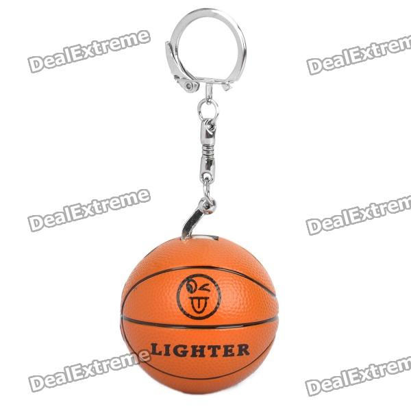 Basketball Style Butane Lighter Keychain - Orange