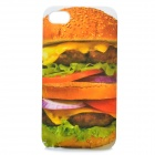 Hamburger Pattern Protective Plastic Back Case for Iphone 4 / 4S - Gold + Green