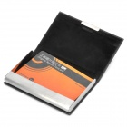 Simple PU Leather Metal Name Card Business Card Holder Case - Black