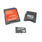 SanDisk Micro SD Memory Card w/ SD / Mini SD Adapter - 4GB (Class 4)