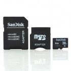 Genuine SanDisk TF / Micro SD Memory Card w/ SD / Mini SD Adapter - 8GB (Class 4)