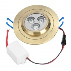 3W 210-270LM 6000-7000K 3-LED Neutral White Light Ceiling Lamp - Golden (220V)