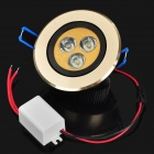 3W 210-270LM 6000-7000K 3-LED Neutral White Light Ceiling Lamp - Golden + Black (220V)