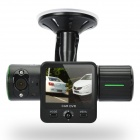 "1.3MP CMOS Wide Angle Car Dual-lens DVR Camcorder w/ GPS Logger / Infrared Light - Black (2.0"")"