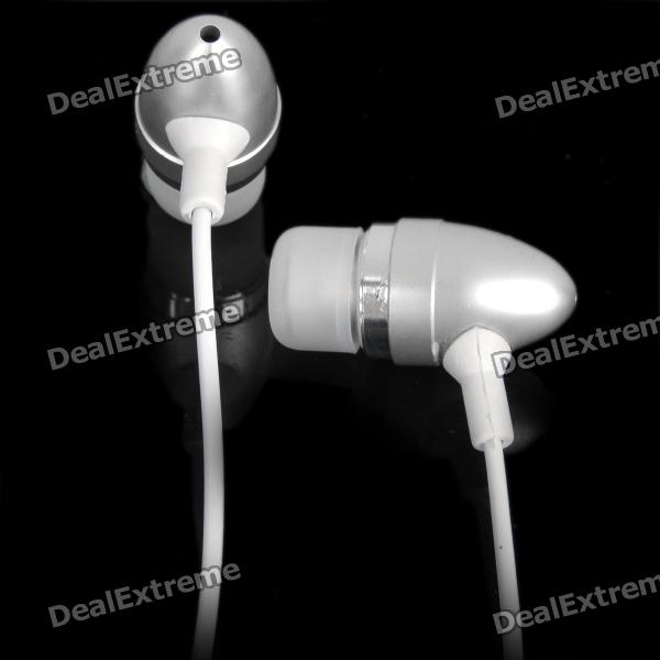 Fashion In-Ear Earphone with Microphone for Iphone 4 / 3GS - Silver + White (3.5mm Jack) original xiaomi mi hybrid earphone in ear 3 5mm earbuds piston pro with microphone wired control for samsung huawei p10 s8