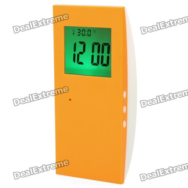 2.0 LCD Talking Digital Alarm Clock - Orange + White (2 x AAA)