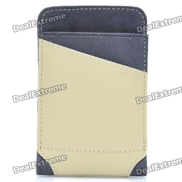 ROCK Dynamic Protective Leather Slid-in Case for Cellphone - Beige + Grey (Size L)