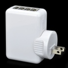Universal 4-Port USB AC Power Travel Charger Kit - White (2-Flat-Pin Plug)