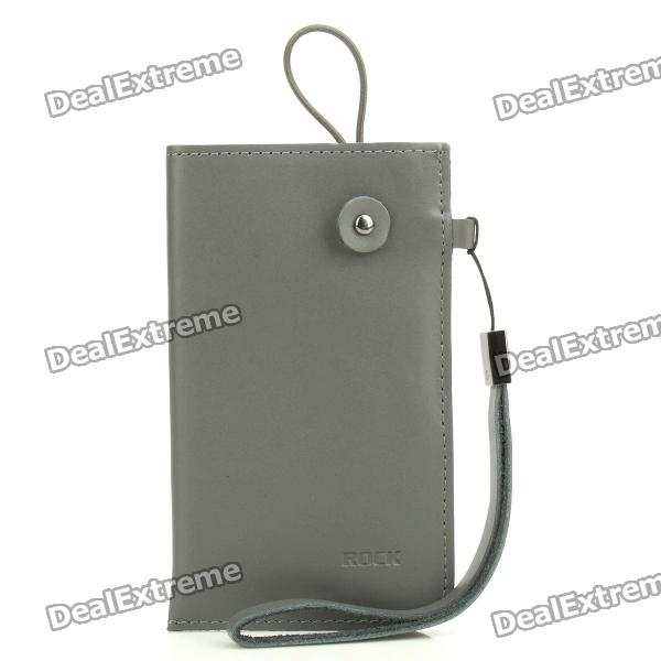 ROCK Protective Cow Leather Case Pouch Bag w/ Strap for Cell Phone - Gray