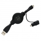 PowerSync Retractable USB 2.0 Male to Micro USB Male w/ Mini 8 Pin Adapter Cable for Camera (80cm)