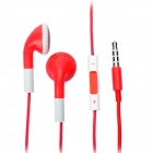 Fashion 3.5mm Stereo Earphone with Microphone for iPad/iPhone/iPod - Red (108cm)