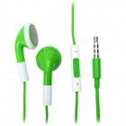 Fashion 3.5mm Stereo Earphone with Microphone for iPad/iPhone/iPod - Green (108cm)