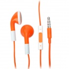 Fashion 3.5mm Stereo Earphone with Microphone for iPad/iPhone/iPod - Orange (108cm)