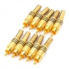 JL0924 3.5mm RCA Jack Connector - Golden (10-Piece)