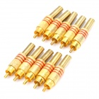JL0924 3.5mm RCA Jack Connector - Golden + Red (10-Piece)