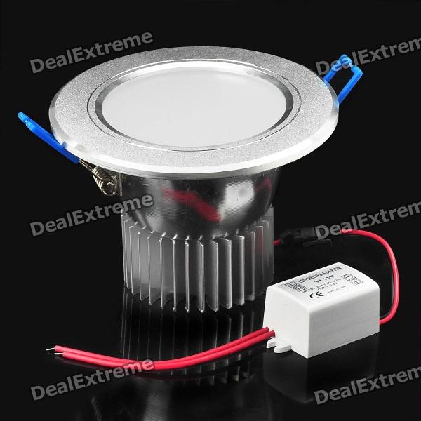 3W 270LM 6000K 3-LED White Light Ceiling Lamp - Silver (89~265V)