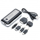 5600mAh Mobile External Power Battery Pack w/ White lED Light & Charging Adapters - Black + White