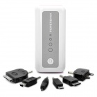 External 5600mAh Emergency Battery Charger w/ White 1-LED Flashlight / 6 Charging Adapters - White