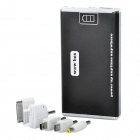 Rechargeable 6000mAh Emergency Mobile Power Battery Pack with 5 Adapters - Black
