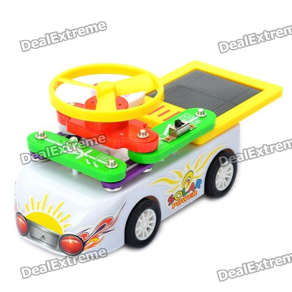 Multi-Purpose Educational AA Battery/Solar Powered DIY Car Toy - White + Yellow + Green + Red solar battery powered butterfly random color