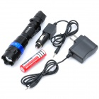 Zoom Focus Lens Cree XR-E Q5 370ML 3-Mode LED Flashlight w/ Car Charger / Power Adapter (1 x 18650)