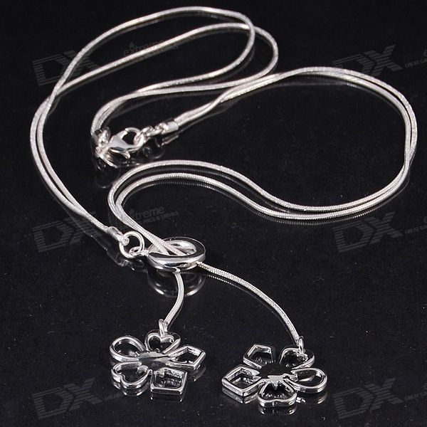 925 Silver Plated Flowers Pendant with Necklace