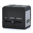 Universal Travel Power Plug Adapter with USB Port - Black (US / EU / AU / UK)