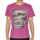 Little House in Wildness Grey Pattern Cotton Short Sleeve T-shirt - Purplish Red (Size L)