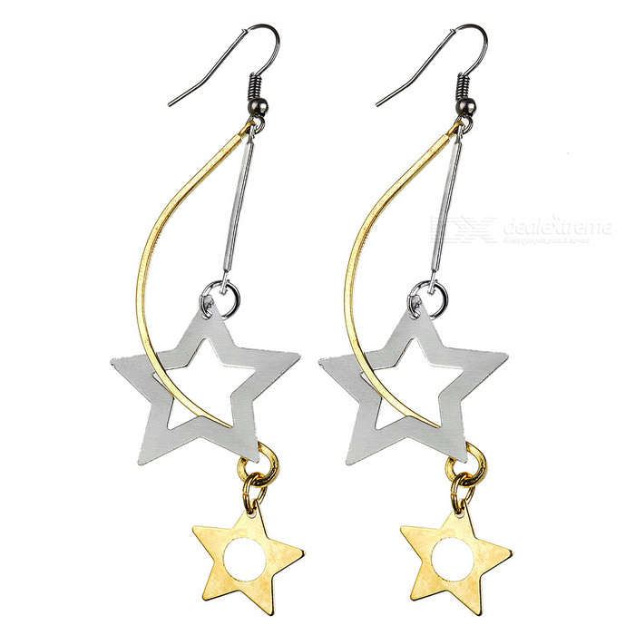 Alloy Star Earrings with Crystals