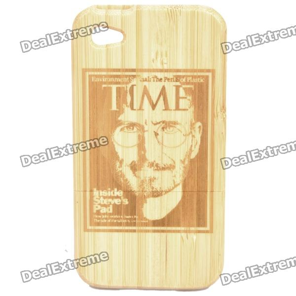 Steve Jobs Pattern Protective Bamboo Back Case for iPhone 4 / 4S