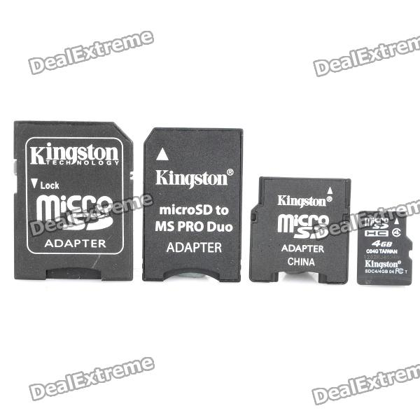 Genuine Kingston TF / Micro SD Memory Card w/ SD / MS PRO Duo / Mini SD Adapter (Class 4 / 4GB)
