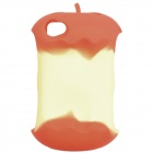 Apple Core Style Protective Silicone Back Case w/ Cable Winder for iPhone 4 / 4S - Red
