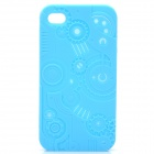 Protective Anaglyph Gear Image Style Silicone Case with Screen Protector for iPhone 4 / 4S - Blue