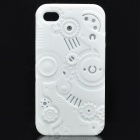 Protective Anaglyph Gear Image Style Silicone Case with Screen Protector for iPhone 4 / 4S - White