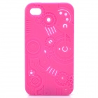 Protective Anaglyph Gear Image Style Silicone Case w/ Screen Protector for iPhone 4 / 4S - Deep Pink