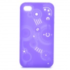 Protective Anaglyph Gear Image Style Silicone Case with Screen Protector for iPhone 4 / 4S - Purple