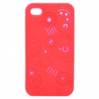 Protective Anaglyph Gear Image Style Silicone Case with Screen Protector for iPhone 4 / 4S - Red