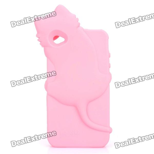 Cute Cat Style Soft TPU Back Case for Iphone 4 / 4S - Pink roswheel tpu waterproof bicycle mobile phone bag w plastic case for iphone 4 4s light coffee