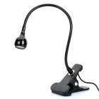 USB Powered Flexible Neck White LED Light with Clip - Black