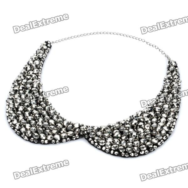 Fashion Crystals Collar Necklace (Black + Silver)