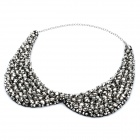 Fashion Imitation Crystals Collar Necklace (Black + Silver)