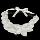 Elegant Imitation Pearls Collar - Flowers Pattern (White)