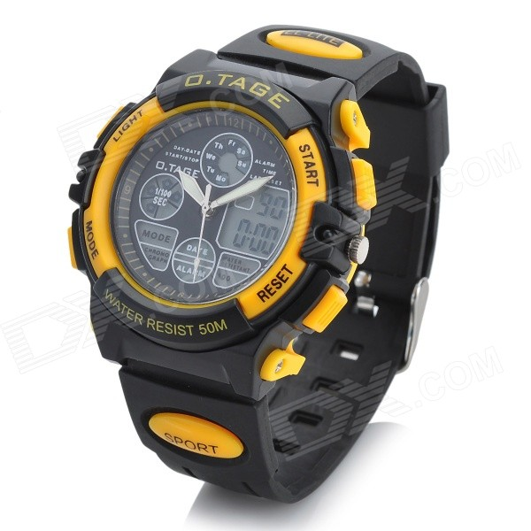 OTAGE Sports Waterproof Dual Time Display Wrist Watch w/ Alarm / Stopwatch - Yellow (1 x SR626)