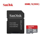 Genuine SanDisk CLASS 6 Micro SDHC Card with SD Card Adapter - Grey + Red (16GB)