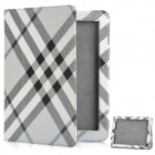 Stylish Plaid Pattern Protective Leather Case for The New iPad - Grey