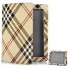 Stylish Plaid Pattern Protective Leather Case for The New iPad - Yellow