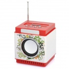 "1.4"" LED Square MP3 Music Speaker w/ FM / 3.5mm Audio / USB / TF for iPhone / iPod - Red"