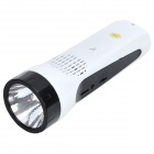 USB Rechargeable Waterproof 100-Lumen 2-Mode 1W White LED Flashlight w/ TF / FM / 3.5mm Audio