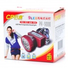 Rechargeable 2-Mode 9-LED White Light Head Lamp - Black (1 x 500mAh Storage Battery)