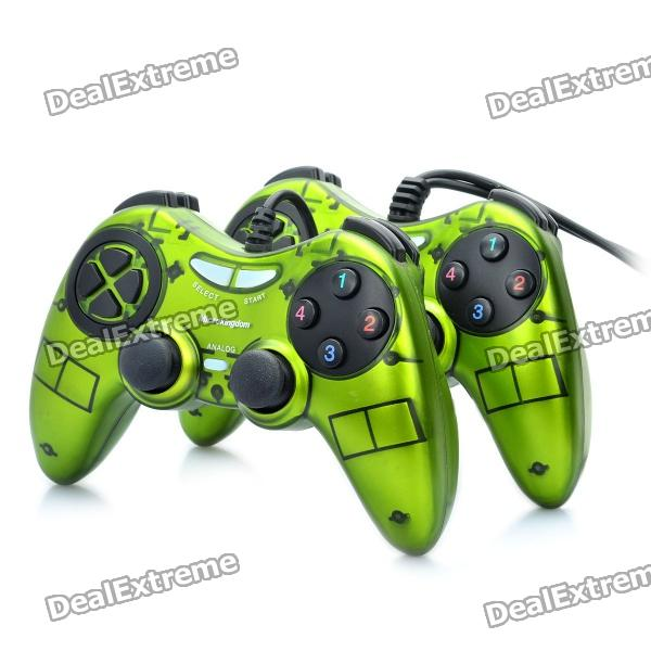 Dual Shock USB 2.0 Wired PC Game Joypad Controller - Green + Black (Pair)